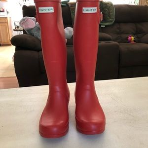 Hunter Shoes - Red knee length hunter rain boots